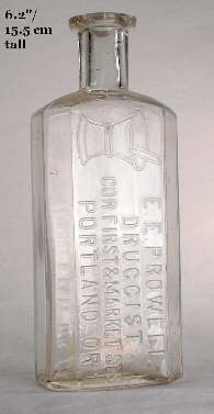 1888-1889 Blake style druggist bottle; click to enlarge.