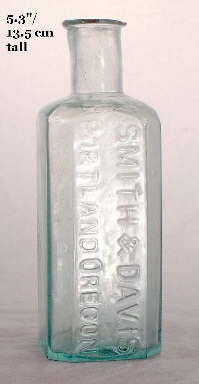 Early 1855-1865 square druggist bottle; click to enlarge.