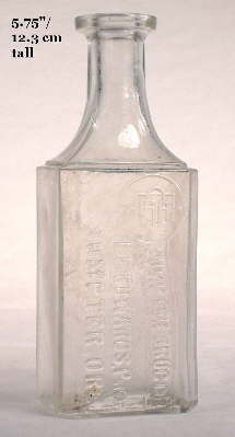 Rectangular druggist bottle from about 1900; click to enlarge.