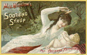 1887 Winslow's Soothing Syrup trade card; click to enlarge.