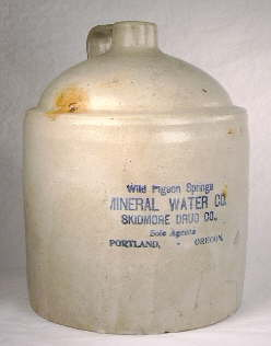 1900 era pottery jug used for mineral water; click to enlarge.