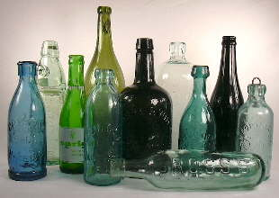 Grouping of soda & mineral water bottles; click to enlarge.