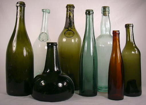 Group of 18th and 19th century wine bottles; click to enlarge.