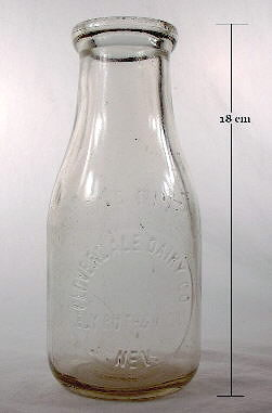 Full view of a pint milk bottle from Nevada.