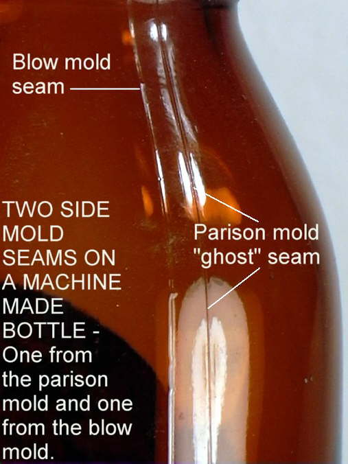 Hyperlink to an image showing ghost seams on a machine-made bottle