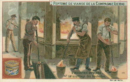Image of late 19th century trade card showing glassblowers at work; click to enlarge.