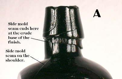 Close-up of the shoulder and finish of a black Hostetter's Bitters.