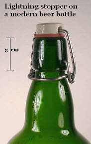 Image of a modern beer bottle with a lightning stopper; click to enlarge.