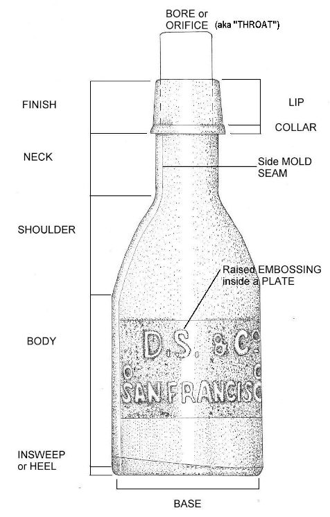 Illustration of the primary physical features of a bottle; hyperlinked to a larger, higher quality version.